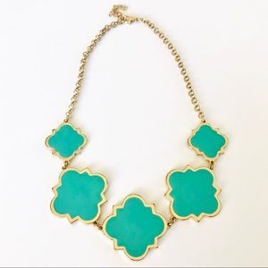 Quatrefoil Turquoise and Gold Necklace